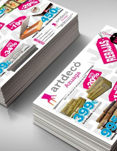 Folleto A5 para las rebajas de ArtDecó Azuaga